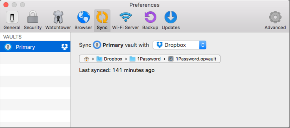 1Password preferences window showing the sync options available for Standalone Vaults
