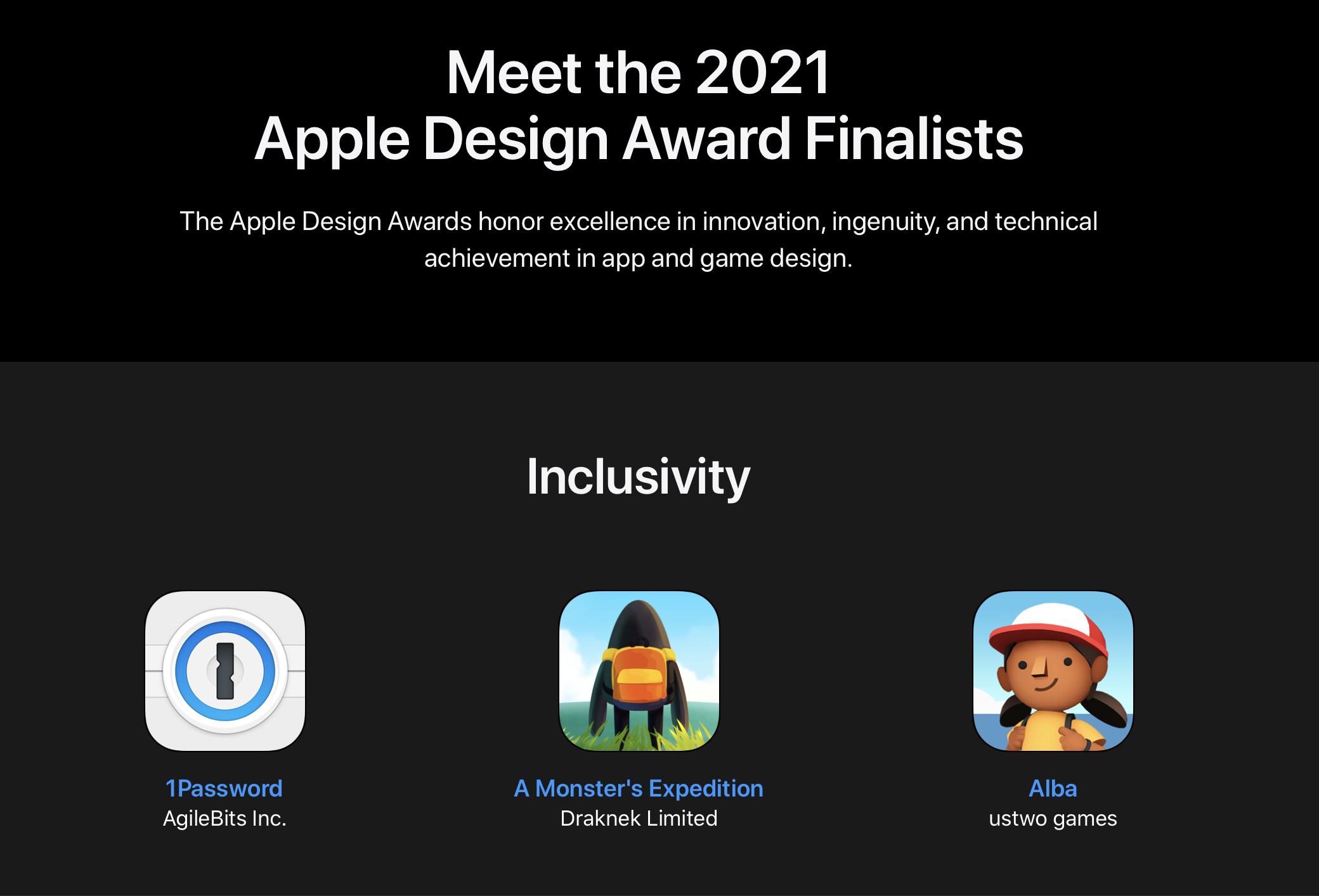 1Password chosen as a Apple Design Award finalist in the category of Inclusivity