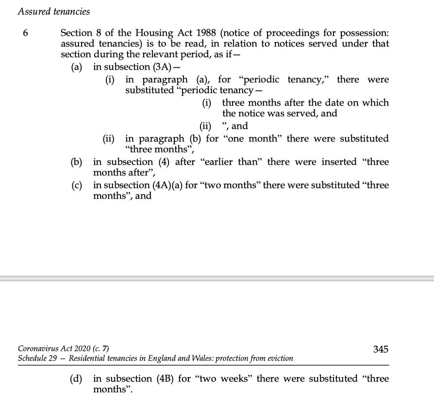 Coronavirus Act 2020 changes to Housing Act