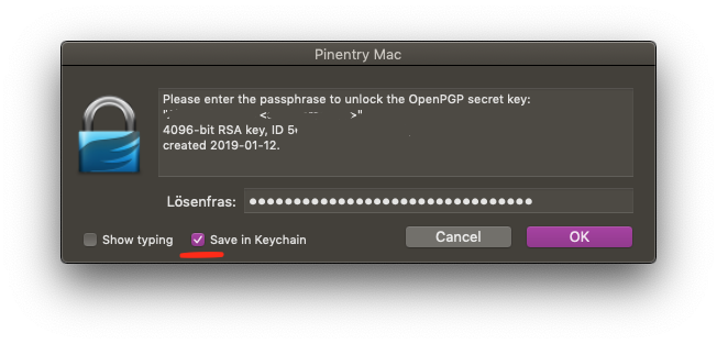 Image of popup window from Pinentry Mac